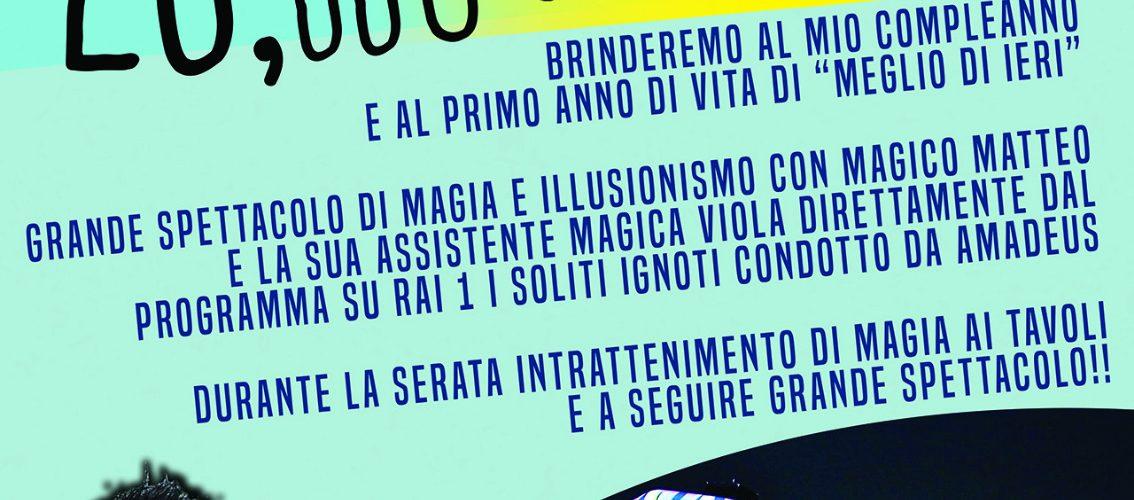 GIOVEDI 27 FEBBRAIO 2020 – BUON COMPLEANNO MEGLIO DI IERI – 1 ANNO